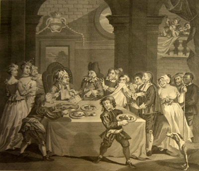 El banquete de Sancho Panza en la ínsula Barataria (William Hogarth)