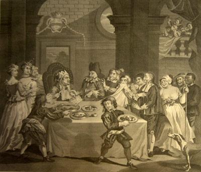 El banquete de Sancho Panza en la ínsula Barataria (William Hogarth)